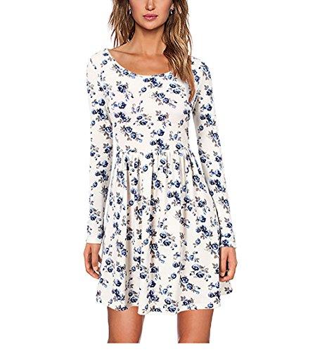 CoCo Fashion Damen Langarm Casual Lose A-Line Kleid Knee Length Short Minikleid Skater Dress, Weiß, Gr. EU S