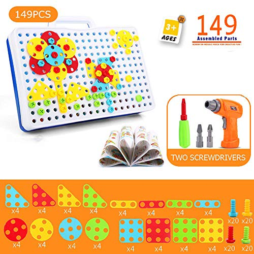 ZHENDUO 149Pcs Design and Drill 3D Puzzle Toy Construction Toys Building Block Electric Drill Puzzle Toy Tool Kit Set Assembly Take Apart Toy Stem Toys Educational Toys