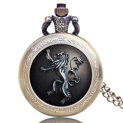 Game of Thrones US TV-Serie House Lannister, Bronze Vintage Klassische Taschenuhr, Anhänger Taschenuhr, Geschenk für Männer