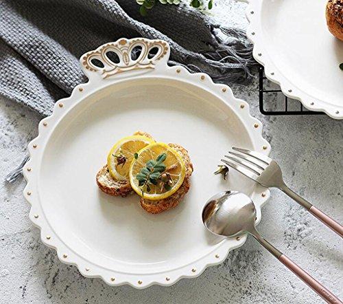 Crown Ceramic Dinner Plate Obstsalat-Dessertteller, Simply Fine Chirp Salat- / Luncheon-Teller (Gold, Silber) (Color : Gold) Fine Gold Plate