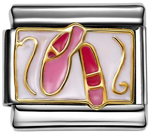 Stylysh Charms Ballett Pointe Ballerina Schuhe Italienischer 9mm Emaille Link MD041 (Pointe Ballerina)