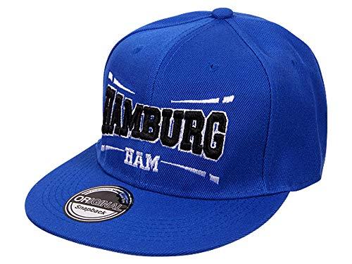 Cappy Baseballcap Hamburg Hip Hop Schirmmütze Mütze Käppi Blau Streetware (Blaue Hip-hop-mütze)