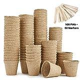 Urban Sprout Pots biodégradables100pots de plantation en fibres pour semis6cm Rond