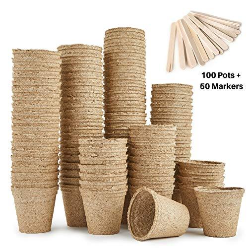 Urban Sprout - Macetas biodegradables, 100 macetas de fibra para plantar semillas, 6 cm, forma...