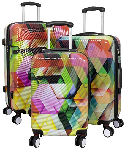Trendyshop365 Polycarbonat Koffer-Set 3-teilig mit Buntem Druck und 3D Wellen-Kofferschalen 4 Doppel-Rollen Kofferschloss
