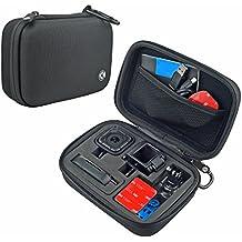 Camera y estuche de accesorios para GoPro HERO4 Session Cameras - Ideal para viajar o almacenar- Proteccion complete – Ajuste perfecto – Mosqueton y paño de microfibra para limpieza incluidos (Small - HERO4 Session, Negro)