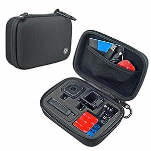 Camera y estuche de accesorios para GoPro HERO4 Session Cameras - Ideal para viajar o almacenar- Proteccion complete - Ajuste perfecto - Mosqueton y paño de microfibra para limpieza incluidos (Small - HERO4 Session, Negro)