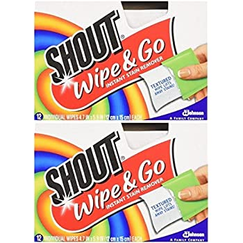 2 Pk Flight Tracker Shout Stain Remover Wipes Free Delivery 12 Ct