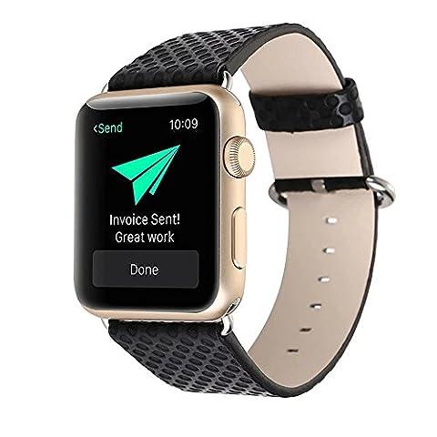 Armbanduhr Band Echtes Leder, happytop 42mm Single Tour Armband Ersatz Handschlaufe für Apple Armbanduhr Serie 1/2 S schwarz