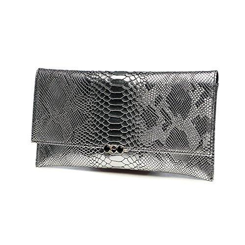 Handtasche, Damen Handtasche, Mode Bankett Damen Abendtasche, Schulter schräge Ledertasche ( Farbe : Gold ) Silber