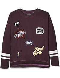Blue Seven Cooles Sweatshirt, Mit Streifen Am Ärmel, Badges Und Druck, Cold Washed, Unten Abgerundet, Innen Angerauht, Sweat-Shirt Fille