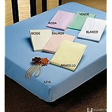 (VERDE) Sabana bajera ajustable, elastica 100% algodón de verano. Cama 150 X 190 - 200 cm + 25cm. Fácil lavado, planchado RegalitosTV. (Verde)