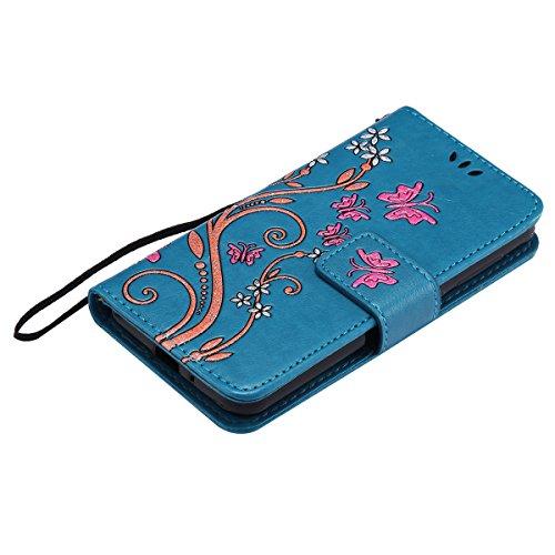 Custodia Cover Huawei Y3 II - ISAKEN Accessories Cover in PU Pelle Portafoglio Tinta Unita Custodia, Elegante Fiori Farfalle Pattern Design in Sintetica Ecopelle Libro Bookstyle Wallet Flip Portafogli Flowers: blu