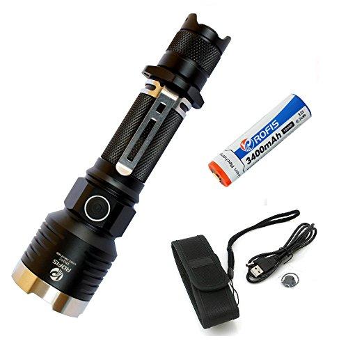 Preisvergleich Produktbild ROFIS tr31C Taschenlampen CREE XM-L2LED 985Lumen Taschenlampe Lampe Wiederaufladbar und wasserdicht Tactical Taschenlampe mit 3400mAh 18650Akku