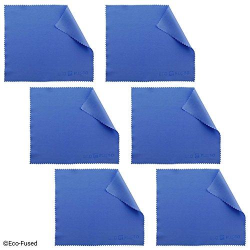 Eco-Fused Mikrofaserreinigungstuch für Handys wie iPhone, Samsung, HTC, BlackBerry, Kameralinsen, Tablets, Silberwaren, Brillen, Uhren und andere empfindliche Oberflächen (blau) 6 Stück