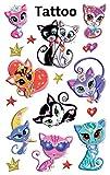 AVERY Zweckform 56675 Kinder Tattoos Katzen (temporäre Transferfolie, dermatologisch getestet) 17 Aufkleber