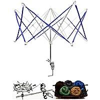 Welinks von Hand betriebenes Wickelgerät in Form eines Regenschirms. Geeignet für Wolle, Garn, Fasern. Werkzeug zum Stricken und Häkeln blau