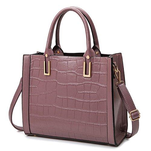 ZPFME Womens Tote Handtasche Mode Handtasche Herbst Und Winter Krokodil Muster Schultertasche Party Retro Pink