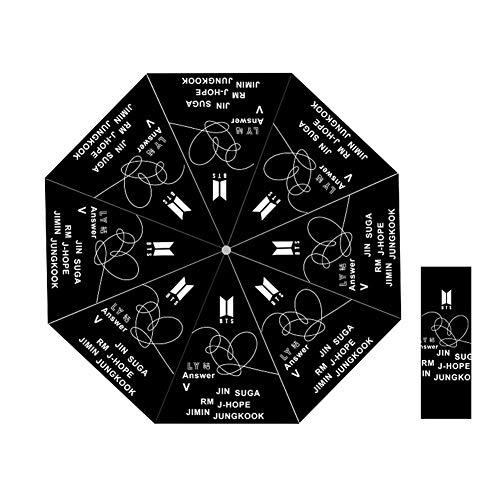 ALTcompluser BTS Regenschirm, Bangtan Boys Taschenschirm Jungkook, Jimin, V, Suga, Jin, J-Hope, Rap Monster Faltbarer Regenschirm Winddicht UV Sonnenschirm(#4)