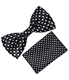 Greyon Black with white Dot Bow tie With...