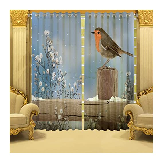 b7 CREATIONS Polyester Digital Printed Floral Eyelet Curtain for Bedroom/Living Room/Home (Grey, Windows 5 Feet)