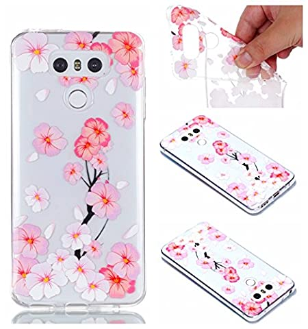 LG G6 Covers, LG G6 Case - LG G6 Transparent Case, Cozy Hut TPU Clear Soft Silicone Back Colorful Printed Fashion Flower Pattern Silicone Case Protective Cover Cell Phone Case for LG G6 Bumper Case [Ultra Slim], Flexible Soft TPU [Drop Protection+Shock Absorption+Anti-Scratch] Protective Case Cover for LG G6 - Pink and white peach