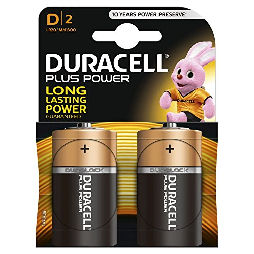 Duracell Baterías D Plus Power LR20/MN1300 Batería/Alcalino 1.5V / Paquete de 2 / iCHOOSE
