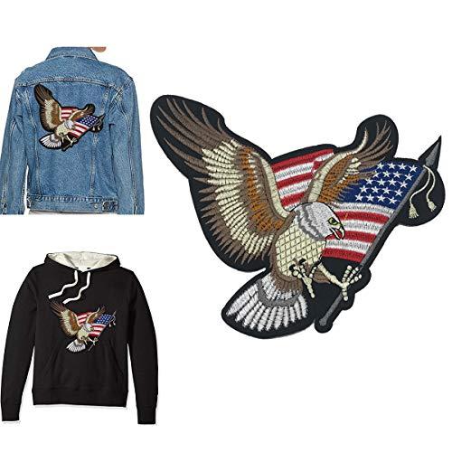 Gestickte Adler (B.FY Aufnäher Adler mit amerikanischer Flagge zum Aufnähen, gestickt, Sticker, American Eagle für DIY American Eagle Jeans für Männer oder Frauen schwarz)