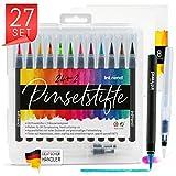int!rend Pinselstifte Set 24 Aquarell Farben, 2 Wassertankpinsel, 8 Blatt Aquarellpapier, Brush Pen Stifte - Bullet Journal, Kalligraphie, Hand Lettering, Art Marker Filzstifte, Zeichnen, Malen