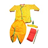 #8: Chipbeys Kids' cotton yellow Krishna style kurta & dhoti dress with mukut, angrakha and bansuri