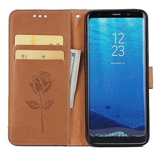 Dual Color Matching Premium PU Leder Flip Stand Case Cover mit Card Cash Slots und Lanyard für Samsung Galaxy S8 ( Color : White ) Brown