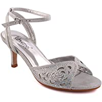 bff8595a183 Unze Women  Frawn  Diamante Embellished Ladies Open-Toe Mid Low Stiletto  Heel Cut
