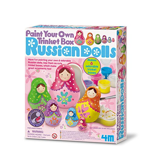 4M - Paint Your Own Trinket Box Russian Dolls, Juego de...