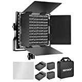Neewer 660 LED Video Light Bicolore Regolabile con Batteria Ricaricabile 6600mAh e Caricabatteria Kit: 3200-5600K, CRI 96+ con Staffa U e Barndoor per Fotocamera Foto Studio Ripresa YouTube Video - Nero
