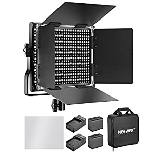 Neewer 660 LED Video Light Bicolore 3200-5600K CRI 96+Regolabile con Batteria Ricaricabile 6600mAh Caricabatteria Staffa U Barndoor per Fotocamera Foto Studio Ripresa YouTube Video Nero