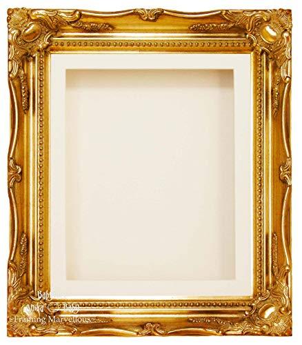 Gold Swept Kunstvoller Tief Box Rahmen 30,5x 25,4cm-wählen Halterung Cream 1 Mount, Cream Back - Mount Back Box