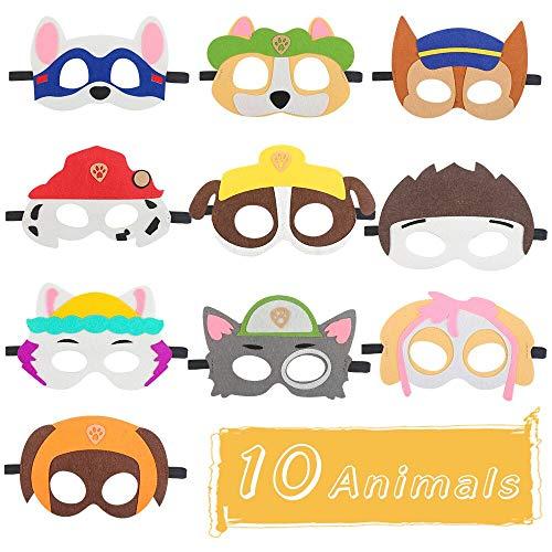 Masken für Kinder, Nasharia 10 Stück Super Masken für Kinder Filz Tiermasken Bauernhof-Tiere mit Elastischen Seil für Halloween Weihnachten Geburtstag Bühnenaufführungen Thema Party
