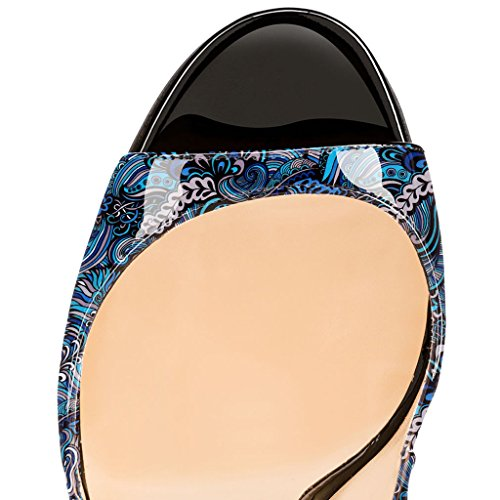 EDEFS Damenschuhe 120mm Peep Toe Slingback High Heels Sandalen mit Schnalle Öffnen Zehe Stiletto Schuhe Blume-Blau
