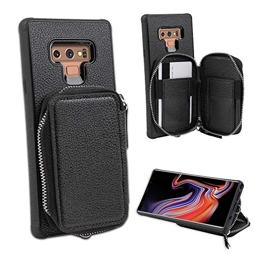 LUXCA Schutzhülle für Samsung Galaxy Note 9, Leder, mit Reißverschluss, Geldbörse, Handtasche, Handschlaufe, zum Aufstecken, schwarz (Wireless Phone Cricket Card)