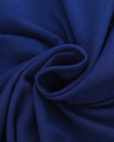 ZANZEA Femme Automne Coton Sweats à Capuche Manches Longues Lâche Hoodie Sweat Jumper Pull Bleu royal