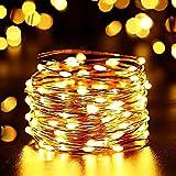 NEXVIN Luci Solari Giardino con Filo Rame, Luci LED alta Luminosa Bianca Calda, Luci Stringa Solare 12 Metri 100 LED Impermeabile per Estrno ed Interno, Luci Decorativa per Natale, Giardino, Terrazza, Gazebo, Passaggio, Albero di Natale