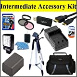 Intermediate Accessory Kit For Vixia HFM40HFM400 HFM41Camcorder - Includes Filter Kit + 16GB SD Memory Card + Replacement BP-827 Battery + Battery Charger + LED Video Light + Deluxe Case + 57 ' Tripod + Mini HDMI Cable & Much More!!