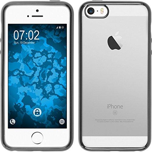 PhoneNatic Case für Apple iPhone SE Hülle Silikon silber Slim Fit Cover iPhone SE Tasche + 2 Schutzfolien Grau