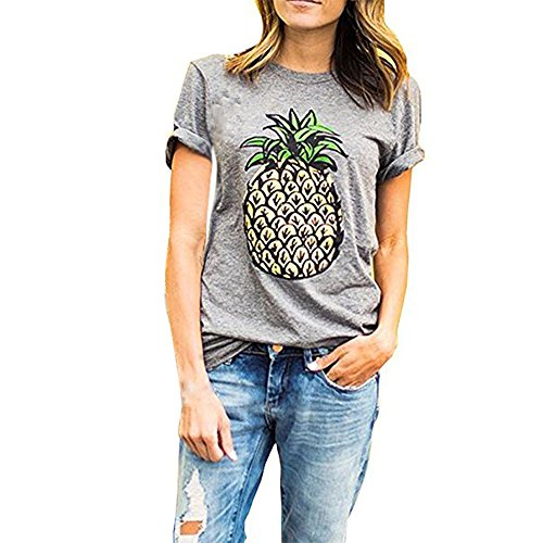 s Frucht Drucken T-shirt Damen Sommer Tropischer Stil Shirt Schöne Mode Weich top (M, Grau) (Tropische T-shirts Damen)