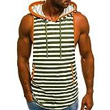 IZHH Herren Tank Top, Sommer Muskelshirt Casual Streifen Print Herren Unterhemd Mit Kapuze ÄRmelloses T-Shirt Top Weste Bluse(Armeegrün,L)