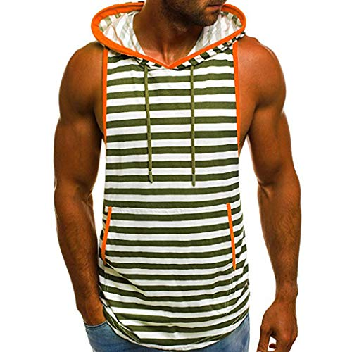 IZHH Herren Tank Top, Sommer Muskelshirt Casual Streifen Print Herren Unterhemd Mit Kapuze ÄRmelloses T-Shirt Top Weste Bluse(Armeegrün,3XL)