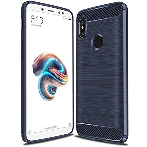 iBetter Xiaomi Redmi 6A Funda,Xiaomi Redmi 6A Funda de Silicona para teléfono Inteligente Xiaomi Redmi 6A con Fibra de Carbono Suave. Azul