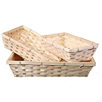 BASIC HOUSE 10 x Bamboo Natural Color Wicker Bread Basket Storage Hamper Display Tray (Medum)