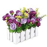 Jarown Weißer Lattenzaun mit Seidenrose Künstliche Blumen Mini Garten Garten Holz Vase für Schreibtisch Hochzeit Dekorationen violett