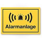 Alarmanlage Kunststoff Schild (gelb 30 x 20 cm) - Achtung/Vorsicht Alarmgesichert - Hinweis/Hinweisschild Alarm - Haus/Gebäude / Objekt